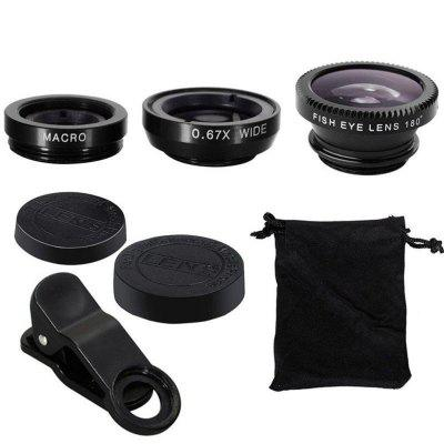 3 in1 Fish Eye groothoek Macro Camera Clip-on lens voor universele mobiele telefoon