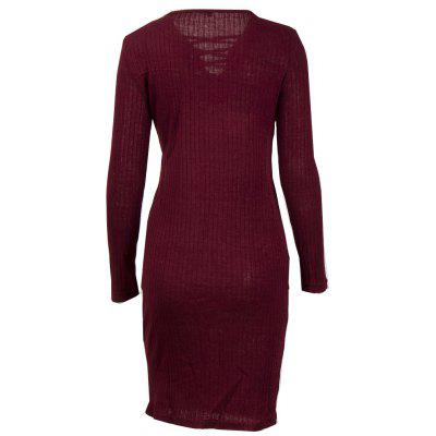 Pure Color Middle Length Warm DressSweater Dresses<br>Pure Color Middle Length Warm Dress<br><br>Dresses Length: Knee-Length<br>Elasticity: Elastic<br>Fabric Type: Worsted<br>Material: Polyester, Cotton<br>Neckline: V-Neck<br>Package Contents: 1 x Dress<br>Pattern Type: Solid<br>Season: Spring<br>Silhouette: Sheath<br>Sleeve Length: Long Sleeves<br>Style: Fashion<br>Weight: 0.3000kg<br>With Belt: No