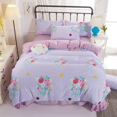 4PCS Cotton Floral Bedding Set