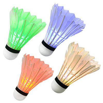 Bunte LED Badminton Set Shuttlecock Dark Night Glow Birdies Outdoor Sport Aktivitäten 4st
