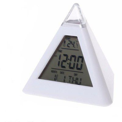 7 LED Change Colors Pyramid LCD Digital Snooze Alarm Clock Time Data Week Temperature Thermometer