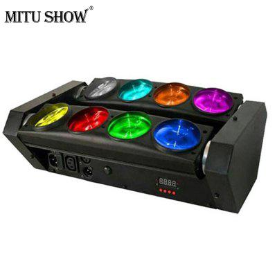 MITU SHOW Stage Lighting 8 LEDs Spider Beam Moving Head LightStage Lighting<br>MITU SHOW Stage Lighting 8 LEDs Spider Beam Moving Head Light<br><br>Body Color: Black<br>Function: For Office and Teaching, For Decoration, For Aiming and Shooting, For Outdoor Sporting, For party<br>Laser Color: White,Red,Blue,Green<br>Lifespan (hour): 60000<br>Material: Cast Aluminum<br>Model: MT-M-D004<br>Package Contents: 1 x Light, 1 x Power Cable,  1 x English User Manual<br>Package size (L x W x H): 46.00 x 30.00 x 20.00 cm / 18.11 x 11.81 x 7.87 inches<br>Package weight: 5.5000 kg<br>Plug Type: EU plug<br>Product Size(L x W x H): 40.00 x 23.00 x 18.00 cm / 15.75 x 9.06 x 7.09 inches<br>Product weight: 4.6800 kg<br>Shape: Cylinder<br>Type: DJ and Disco Light, Moving Head Lights, LED Effects Stage Light