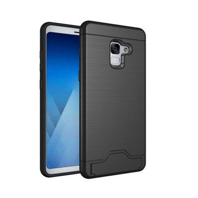 Cover Case for Samsung Galaxy A8 Plus 2018 Hybrid Armor Soft Silicone TPU+PC Rubber Card Slot Kickstand Back