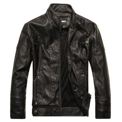 Men's Autumn and Winter Collar Motorcycle Leather Jacket