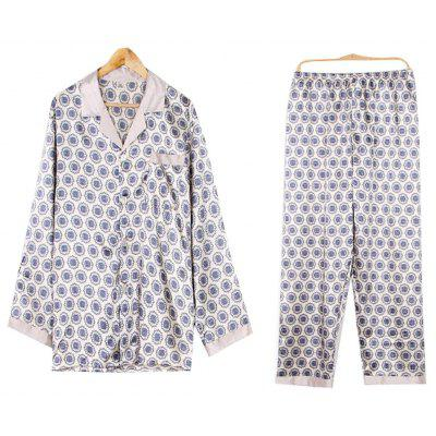 Luxury Print Faux Silk Pajamas for Men Satin Sleepwear Sets Top and Pants Nightwear Mens Pajama