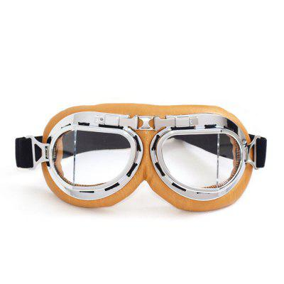 Universal Motorcycle Outdoor Windproof Helmet Scooter Goggles Yellow Leather Silver Frame Pilot Style