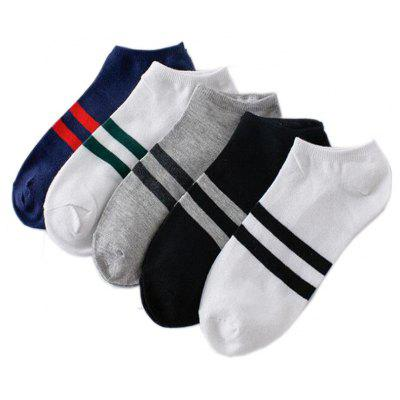 Men's 5 Pairs Ankle Socks Striped Cotton Blends Breathable Socks