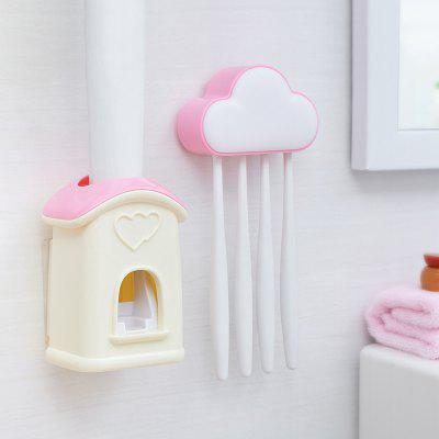 Buy Cloud Cottage Creative Automatic Toothpaste Cartoon Toothbrush Holder Set PINK for $8.87 in GearBest store