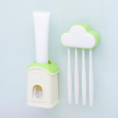 Buy Cloud Cottage Creative Automatic Toothpaste Cartoon Toothbrush Holder Set GREEN for $8.87 in GearBest store