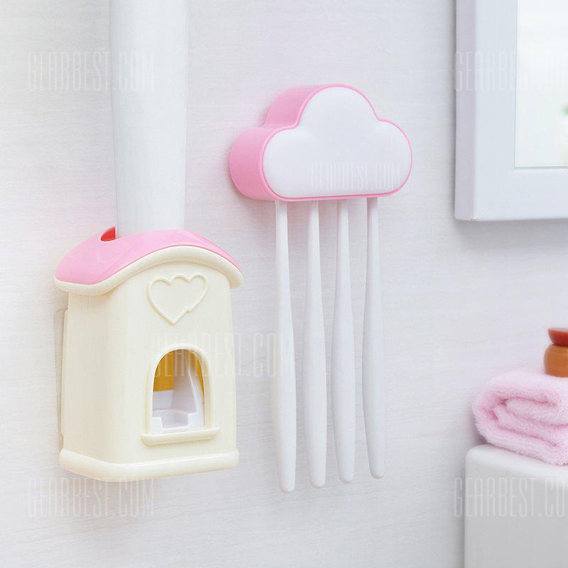 Cloud Cottage Creative Automatic Toothpaste Cartoon Toothbrush Holder Set PINK