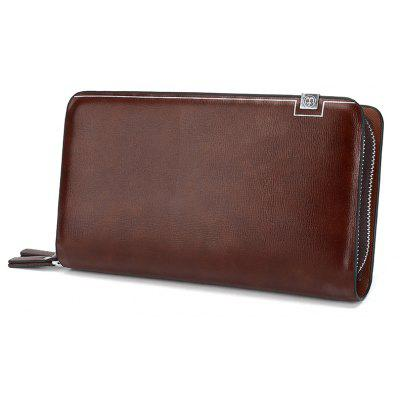 Casual Double Zipper Long Clutch Bag Male