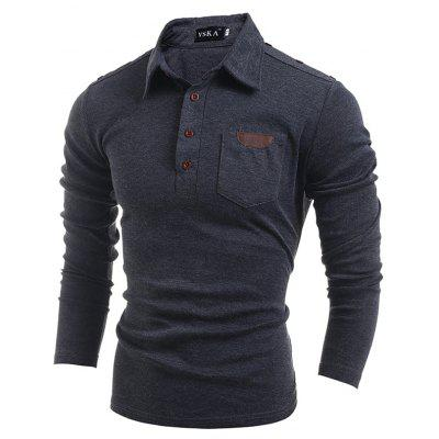 Buy GRAY M Men's Long-Sleeved Lapel T-Shirt for $15.20 in GearBest store