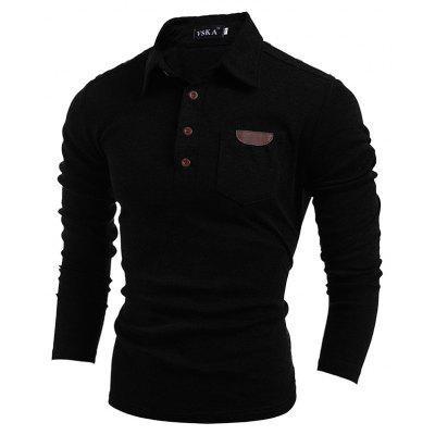 Buy BLACK XL Men's Long-Sleeved Lapel T-Shirt for $15.20 in GearBest store