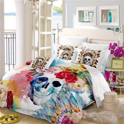 Painted Pattern Tribal Skeleton Chieftain Series Bedding Set Three or Four Pieces AS17