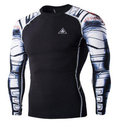 Digital Printing Fitness Quick-Drying Long-sleeved T-shirt