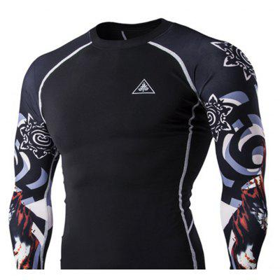 Digital Printing Fitness Long-sleeved T-shirtSports Clothing<br>Digital Printing Fitness Long-sleeved T-shirt<br><br>Material: Acetate, Microfiber<br>Package Contents: 1?T-shirt<br>Pattern Type: Others<br>Weight: 0.2500kg