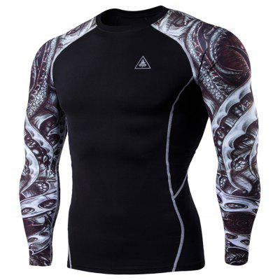 Men's Digital Printing Long-Sleeved Fitness Tattoo Longan Knife Long-Sleeved T-Shirt