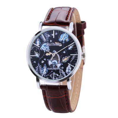 Fanteeda FD100 Men Floral Dial Leather Band Wrist Watch