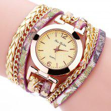 Gearbest price history to Fanteeda FD092 Women Wrap Around Leather Wrist Watch with Chain