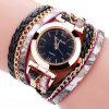 Fanteeda FD092 Women Wrap Around Leather Wrist Watch with Chain - BLACK