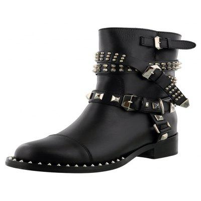 2018 New Fashion Locomotive Rivet Buckle Short BootsWomens Boots<br>2018 New Fashion Locomotive Rivet Buckle Short Boots<br><br>Boot Height: Mid-Calf<br>Boot Tube Circumference: 26<br>Boot Tube Height: 20<br>Boot Type: Motorcycle Boots<br>Closure Type: Slip-On<br>Embellishment: Rivet<br>Gender: Unisex<br>Heel Height: 3<br>Heel Height Range: Low(0.75-1.5)<br>Heel Type: Low Heel<br>Lining Material: PU<br>Outsole Material: Rubber<br>Package Contents: 1 x shoes ?pair )<br>Pattern Type: Solid<br>Season: Spring/Fall, Winter<br>Shoe Width: Medium(B/M)<br>Toe Shape: Round Toe<br>Upper Material: Full Grain Leather<br>Weight: 2.0280kg