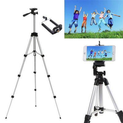 Three-way Head Lightweight Universal Tripod Camera + Cell Phone Clip Holder Camera BracketTripods<br>Three-way Head Lightweight Universal Tripod Camera + Cell Phone Clip Holder Camera Bracket<br><br>Compatible with: Mobile phone, Digital Camera<br>Folded Length (cm): 35cm<br>Leg Sections: 4<br>Material: Aluminium Alloy<br>Max Height (cm): 115cm<br>Minimum Height (cm): 34.5cm<br>Package Contents: 1 x Tripod<br>Package size (L x W x H): 8.50 x 8.50 x 8.50 cm / 3.35 x 3.35 x 3.35 inches<br>Package weight: 0.4260 kg<br>Production type: Tripod head