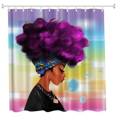 Purple Hair Girl Polyester Shower Curtain Bathroom  High Definition 3D Printing Water-Proof
