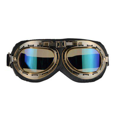 Universal Motorcycle Outdoor Windproof Helmet Scooter Goggles Black Leather Bronze Frame Pilot Style