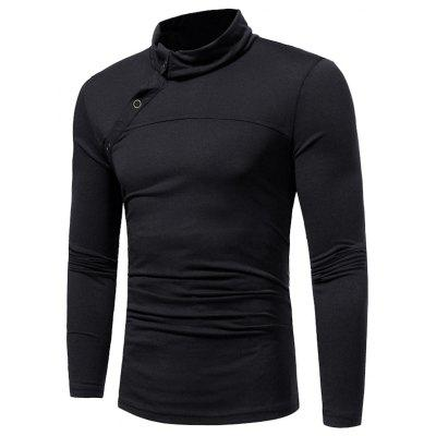 New Men's Solid Color High Collar Casual  Simple Slim Long-sleeved T-shirt