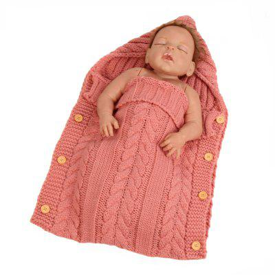 Newborn Baby Infant Knit Crochet Swaddle Wrap Button Closure Sleeping Bag