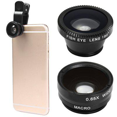 Minismile 3-in-1 Fish Eye and Wide Angle and Macro Phone Camera Lens for iPhone / Samsung / Xiaomi / HUAWEI