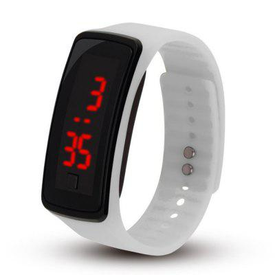 Unisex Rubber Bracelet Red LED Digital Display Sports Wrist Gift Watch