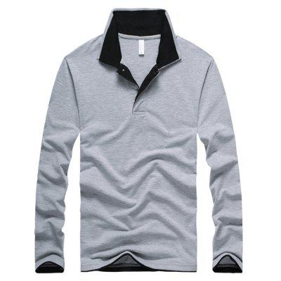 Spring and Autumn Men's Long Sleeved POLO Leisure and Pure Color Shirt