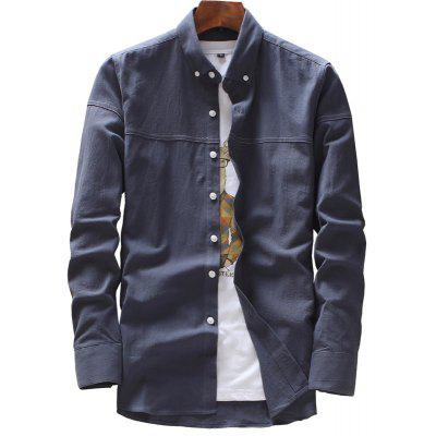 Spring and Autumn Men's Pure Color Fashion Casual Shirts