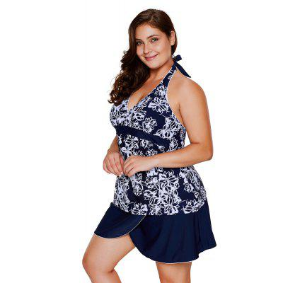 Buy Multicolor Print V-neck Bikini Set NAVY BLUE 3XL for $31.45 in GearBest store