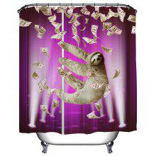 (Purple) Pipe Sloth Polyester Shower Curtain Bathroom High Definition 3D Printing Water-Proof