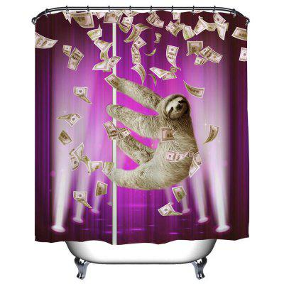 Purple Pipe Sloth Polyester Shower Curtain Bathroom High Definition 3D Printing Water Proof
