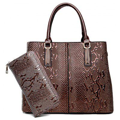 Two Pieces Female Bright Embossed Tote Portable Messenger Shoulder Bag