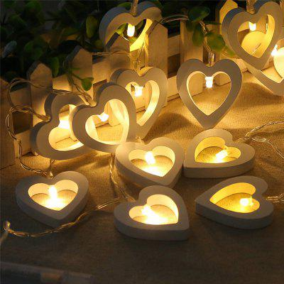 LED Wooden Peach Heart-shaped Festival Party Decoration String Lights