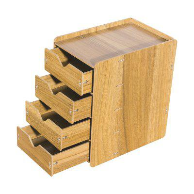 HECARE Wooden Cosmetic Sundry Manual Storage Box Organizer Stand with Drawer