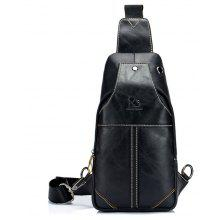 LaoShiZi High Quality Men Genuine Leather Cowhide Casual Sling Chest Back Fashion Cross Body Messenger Shoulder Bag