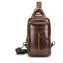LAOSHIZI LUOSEN High Quality Men Genuine Leather Cowhide Casual Sling Chest Back  Fashion Cross Body Messenger Shoulder