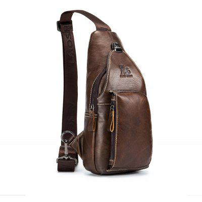 Gearbest LAOSHIZI LUOSEN 2018 Men Fashion Vintage Genuine Leather Cowhide Travel Riding Motorcycle Messenger Sling Pack Chest Bag