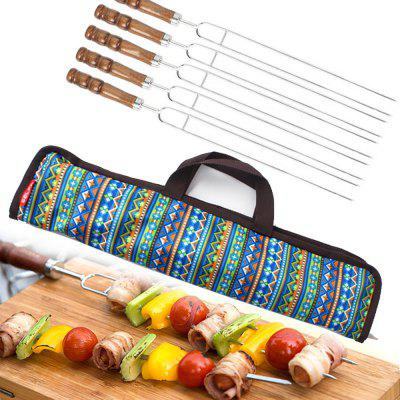 5 In1 High Quality Stainless Steel Fork Camping Dining Barbecue BBQ Tool Set Outdoor Traveling