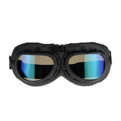 Universal PC Lens Motorcycle Windproof Helmet Scooter Goggles Black Pilot Style