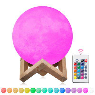 3D Moon Light Colorful Light With Remote ControlNight Lights<br>3D Moon Light Colorful Light With Remote Control<br><br>Battery Quantity: 1<br>Color Temperature or Wavelength: red620nm,  green555nm , blue440nm<br>Connector Type: USB<br>Features: Rechargeable, Color-changing<br>Light Source Color: Stepless Dimming,Multi Color<br>Light Type: Night Light,LED Night Light,Decoration Light<br>Package Contents: 1 x Light , 1 x USB Light , 1 x Wood Base<br>Package size (L x W x H): 15.50 x 15.50 x 17.00 cm / 6.1 x 6.1 x 6.69 inches<br>Package weight: 0.4740 kg<br>Power Source: USB charging<br>Product size (L x W x H): 15.00 x 15.00 x 15.00 cm / 5.91 x 5.91 x 5.91 inches<br>Product weight: 0.2600 kg<br>Quantity: 1<br>Style: Nature Inspired<br>Using Time ( hour ): 3-6<br>Wattage: 1W
