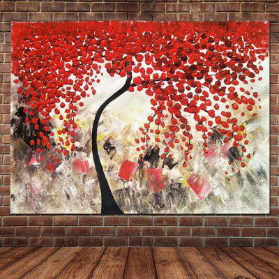 Pure Hand Painted Abstract Impasto Palette Knife Red Flower Tree Canvas Oil Painting Living Room Bedroom Home Wall Decor