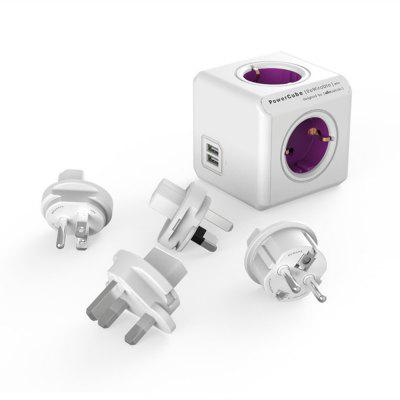 Allocacoc PowerCube ReWirable Travel Plugs - Adapter Power Strip Travel with 4 Sockets 230V and 2 Sockets USB (2.1A)