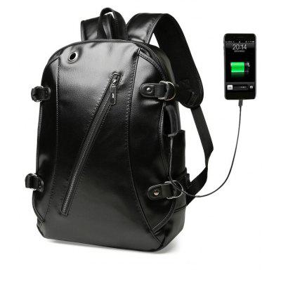 High Quality Practical PU Leather Men Backpack with Headphone Port