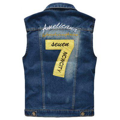 Mens  Fashion Embroidery Patchwork Frayed Denim Vest OutwearMens Jackets &amp; Coats<br>Mens  Fashion Embroidery Patchwork Frayed Denim Vest Outwear<br><br>Clothes Type: Jackets<br>Collar: Turn-down Collar<br>Material: Cotton, Acetate<br>Package Contents: 1 x Cowboy Vest<br>Season: Spring, Summer, Fall<br>Shirt Length: Regular<br>Sleeve Length: Sleeveless<br>Style: Casual<br>Weight: 0.5000kg